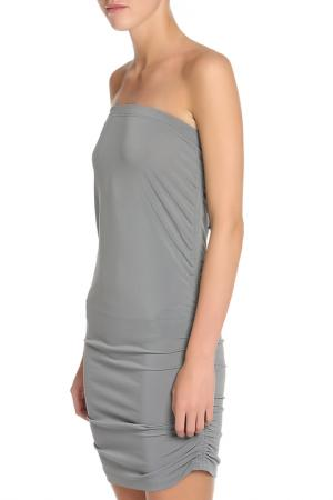 Полуприлегающее платье со сборкой по бокам Caractere. Цвет: серый