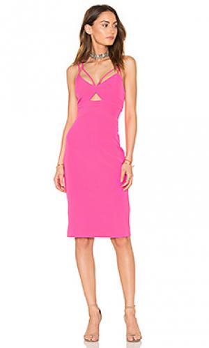 Обрезанное платье Bardot. Цвет: розовый