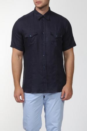 Рубашка с короткими рукавами Smalto. Цвет: темно-синий