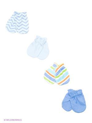 Антицарапки, 4 пары Luvable Friends. Цвет: голубой, светло-голубой
