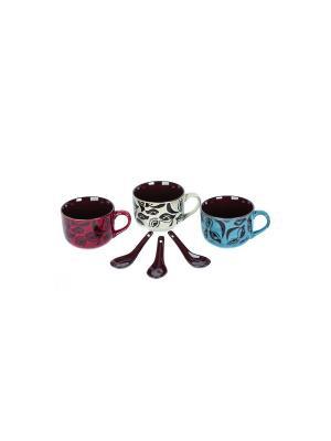 Набор  из 3 бульонниц с ложками (по 600мл) Elff Ceramics. Цвет: синий, красный, белый