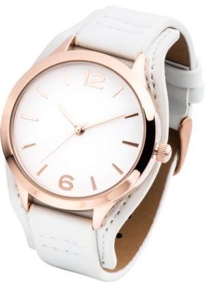 Классические наручные часы (белый/розово-золотистый) bonprix. Цвет: белый/розово-золотистый