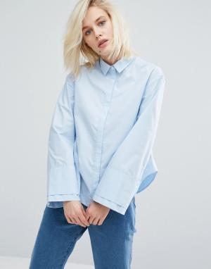 I Love Friday Свободная рубашка с широкими манжетами. Цвет: синий