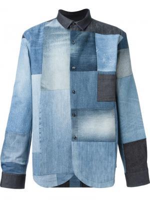 Джинсовая рубашка с лоскутным узором Giuliano Fujiwara. Цвет: синий