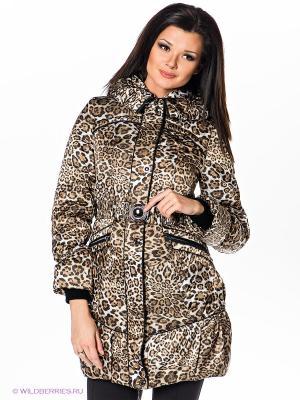 Пальто Alisa Line. Цвет: коричневый, кремовый, черный