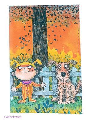 Обложка для паспорта Мальчик и пес Mitya Veselkov. Цвет: оранжевый, бежевый, голубой, зеленый