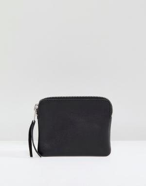 Weekday Кожаный бумажник на молнии. Цвет: черный