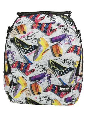 Сумка-рюкзак Seventeen. Цвет: желтый, светло-серый, сиреневый