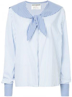 Полосатая рубашка в стилистике моряка N Duo. Цвет: синий