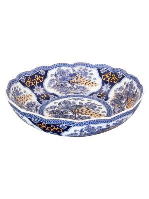 Конфетница-салатник Павлин синий Elan Gallery. Цвет: белый, синий
