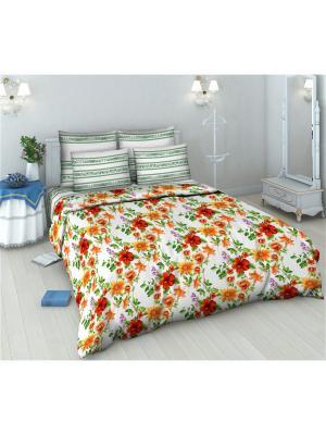 Комплект постельного белья из бязи Евро Василиса. Цвет: белый, зеленый, красный