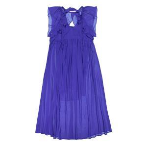 Платье длинное с воланами на плечах и застёжкой сзади SEE U SOON. Цвет: бордовый,синий