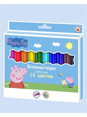Фломастеры толстые Свинка Пеппа, 12 цветов Peppa Pig. Цвет: голубой