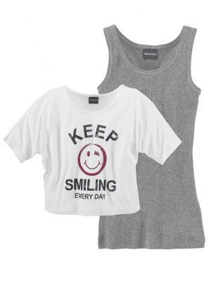 Комплект: футболка + топ. Цвет: телесный/серый