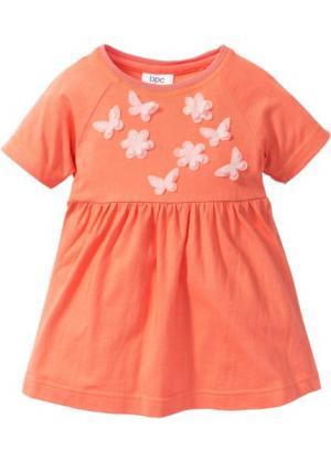 Платье с аппликацией (оранжевый) bonprix. Цвет: оранжевый