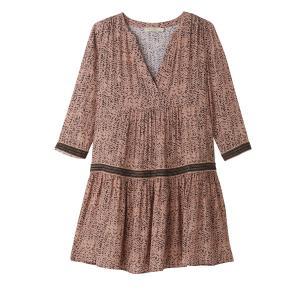 Платье средней длины, рукава 3/4 SEE U SOON. Цвет: рисунок черный/фон телесный