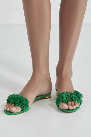 Замшевые сандалии Wild Thing Aquazzura. Цвет: зеленый