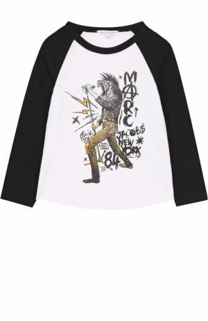 Хлопковый лонгслив с принтом и контрастной отделкой Marc Jacobs. Цвет: разноцветный