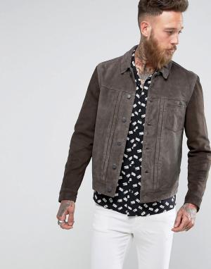 AllSaints Кожаная куртка с контрастными рукавами. Цвет: серый