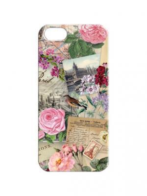 Чехол для iPhone 5/5s Французские открытки Арт. IP5-397 Chocopony. Цвет: бежевый, розовый