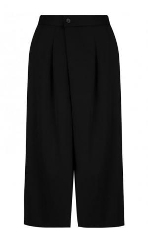 Укороченные шерстяные брюки Yohji Yamamoto. Цвет: черный