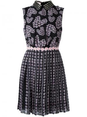 Платье мини с цветочным принтом Giamba. Цвет: чёрный