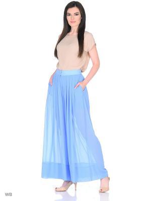 Шифоновые брюки Brassorti. Цвет: голубой