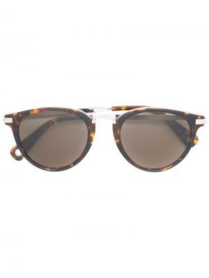 Солнцезащитные очки с эффектом черепашьего панциря Vilebrequin. Цвет: коричневый