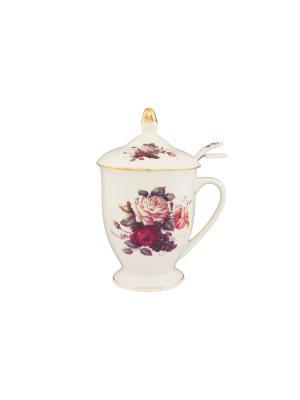 Кружка с металлическим ситом Бархатный нектар ложечкой Elan Gallery. Цвет: бежевый, красный, розовый