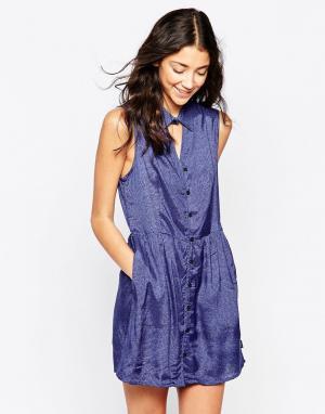 RVCA Короткое приталенное платье без рукавов и с принтом. Цвет: синий