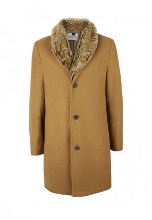 Пальто утепленное Topman. Цвет: коричневый