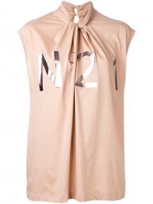 Драпированная блузка с логотипом металлик Nº21. Цвет: телесный