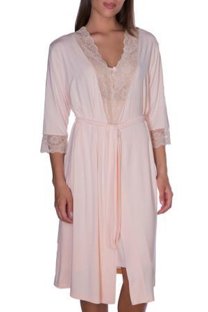 Халат женский Rose&Petal Homewear. Цвет: бледно-персиковый
