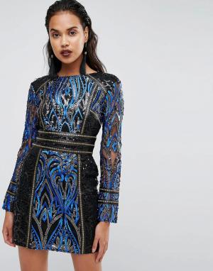 Boohoo Платье с пайетками и длинными рукавами. Цвет: черный