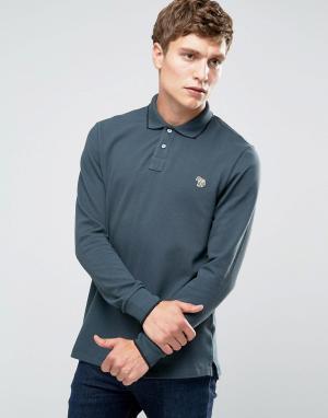 PS by Paul Smith Серая футболка-поло слим с длинными рукавами и логотипом. Цвет: серый