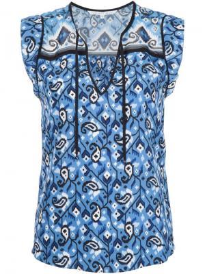 Блузка c V-образным вырезом Veronica Beard. Цвет: синий