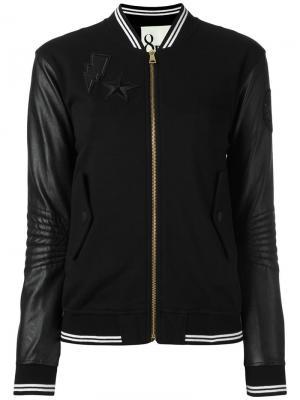 Куртка бомбер с полосами 8pm. Цвет: чёрный