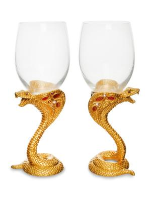 Набор бокалов для вина Змея зол. Win. Цвет: золотистый