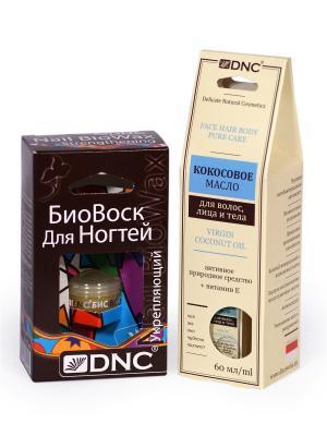 Набор для ухода за руками и ногтями: Кокосовое масло (60 мл), Биовоск Укрепляющий (6 мл) DNC. Цвет: светло-желтый, белый, золотистый