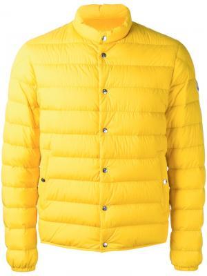 Стеганый пуховик Cyclope Moncler. Цвет: жёлтый и оранжевый