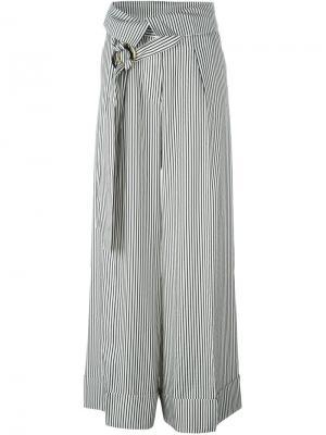 Широкие брюки в полоску Petar Petrov. Цвет: белый