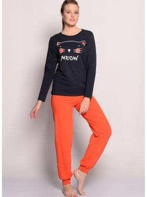 Домашний костюм Kom. Цвет: темно-серый, оранжевый