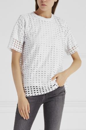 Перфорированная футболка Alexander Wang. Цвет: белый