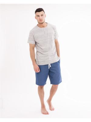 Комплект одежды: футболка, шорты Mark Formelle. Цвет: светло-серый, синий