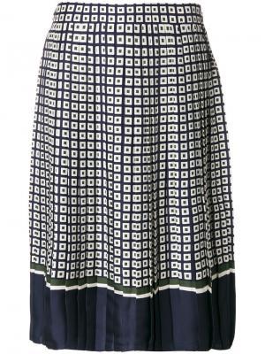 Плиссированная юбка Tory Burch. Цвет: синий
