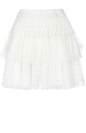 Многоярусная кружевная мини-юбка Giamba. Цвет: белый