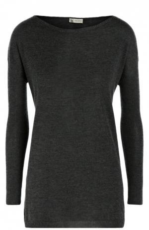 Удлиненный кашемировый пуловер с вырезом-лодочка Colombo. Цвет: темно-серый