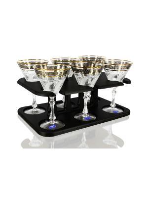 Бар,хрустальные бокалы для мартини 6 шт.,узор флорис Гусь-Хрустальный. Цвет: прозрачный