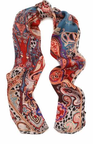 Шелковый платок с принтом Roberto Cavalli. Цвет: голубой