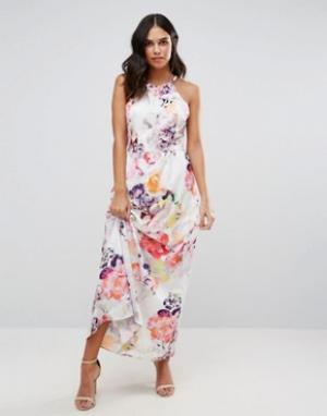 Talulah Платье макси с принтом Endless Summer. Цвет: белый